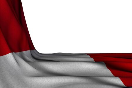 nice isolated mockup of Peru flag hanging in corner on white with empty space for your content - any occasion flag 3d illustration