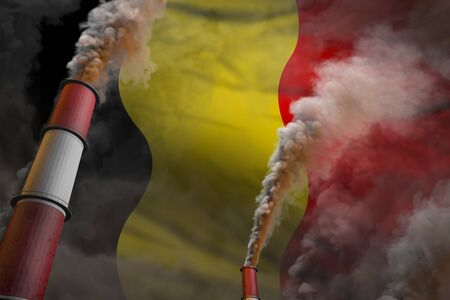 Belgium pollution fight concept - two large industrial pipes with heavy smoke on flag background, industrial 3D illustration