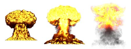 3 big very high detailed different phases mushroom cloud explosion of nuke bomb with smoke and fire isolated on white - 3D illustration of explosion