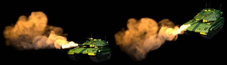 Military 3D Illustration of isolated forest colored modern tank with not existing design at war, highly detailed victory day concept on black