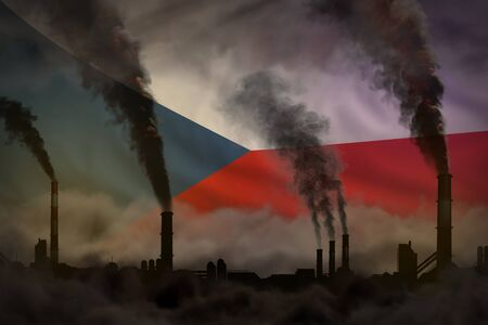 Dark pollution, fight against climate change concept - industrial 3D illustration of factory pipes heavy smoke on Czechia flag background