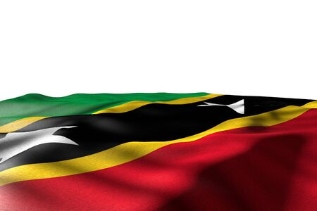 nice mockup picture of Saint Kitts and Nevis flag lay with perspective view isolated on white with place for text - any celebration flag 3d illustration Stok Fotoğraf