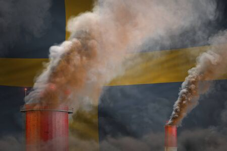Global warming concept - dense smoke from factory pipes on Sweden flag background with place for your text - industrial 3D illustration