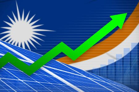 Marshall Islands solar energy power rising chart, arrow up - environmental energy industrial illustration. 3D Illustration