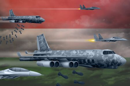 Hungary bomb air strike concept. Modern Hungary war airplanes bombing on flag background. 3d Illustration
