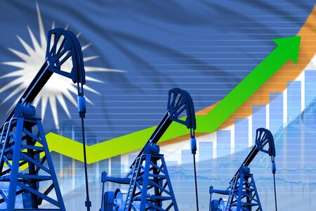 Marshall Islands oil industry concept, industrial illustration - growing graph on Marshall Islands flag background. 3D Illustration