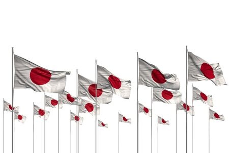 nice celebration flag 3d illustration  - many Japan flags in a row isolated on white with empty space for content