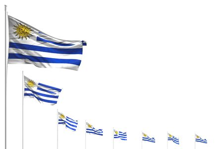 nice many Uruguay flags placed diagonal isolated on white with place for content - any feast flag 3d illustration