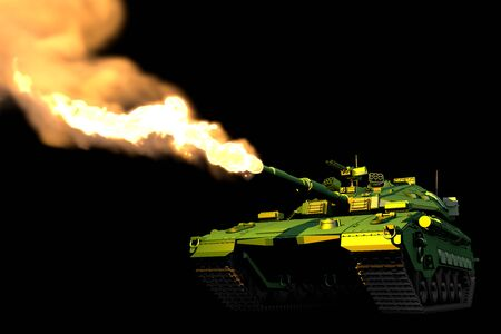 Military 3D Illustration of isolated green camo modern tank with not existing design attacking, detailed military concept on black