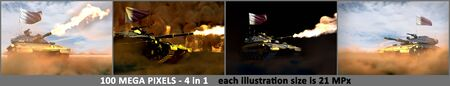 4 high detail pictures of heavy tank with not existing design and with Qatar flag - Qatar army concept, military 3D Illustration
