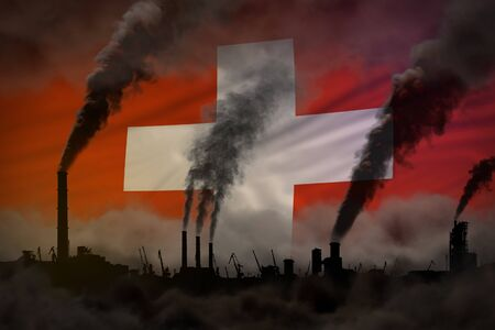 Dark pollution, fight against climate change concept - industrial 3D illustration of industrial pipes dense smoke on Switzerland flag background