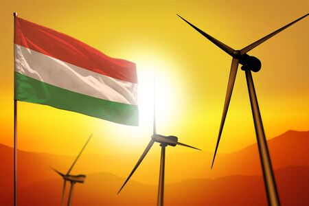 Hungary wind energy, alternative energy environment concept with turbines and flag on sunset - alternative renewable energy - industrial illustration, 3D illustration