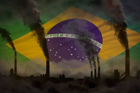 Dark pollution, fight against climate change concept - plant pipes dense smoke on Brazil flag background - industrial 3D illustration