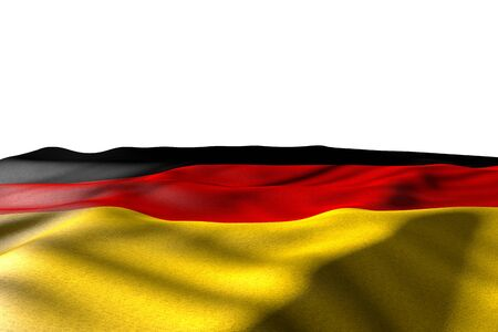 cute mockup picture of Germany flag lying flat with perspective view isolated on white with place for your text - any occasion flag 3d illustration
