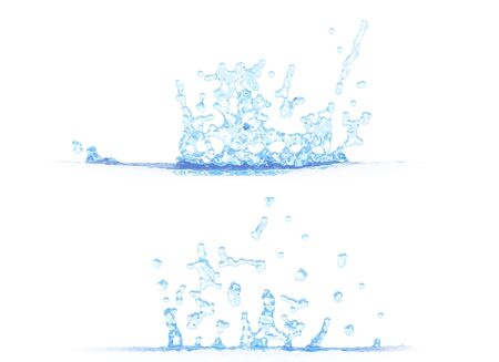 two side views of beautiful water splash - 3D illustration, mockup isolated on white - for design purposes Banque d'images - 130596594