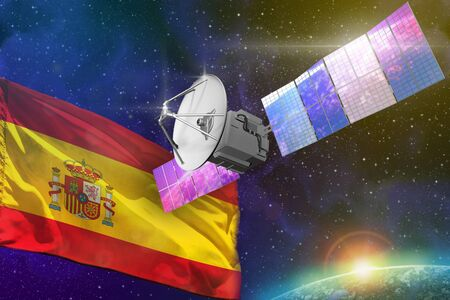 Satellite with Spain flag, space communications technology concept - 3D Illustration Stockfoto