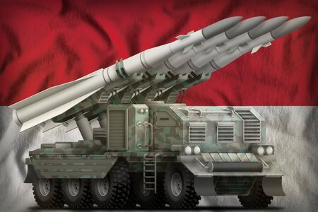 tactical short range ballistic missile with arctic camouflage on the Indonesia flag background. 3d Illustration