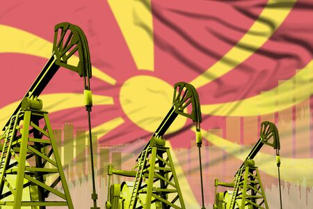 Macedonia oil and petrol industry concept, industrial illustration on Macedonia flag background. 3D Illustration Stockfoto