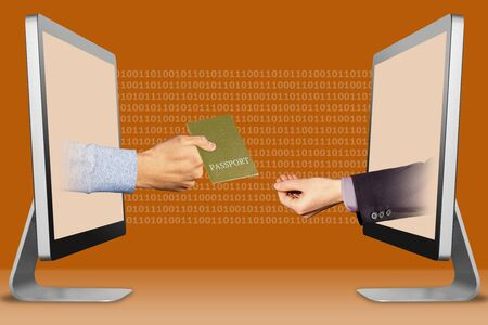 commerce concept, hands from laptops. passport and pleading gesture . 3d illustration