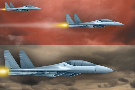 Indonesia air strike concept. Modern war airplanes attack on Indonesia flag background. 3d Illustration Фото со стока