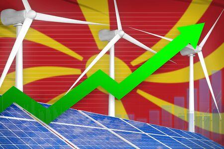 Macedonia solar and wind energy rising chart, arrow up  - modern energy industrial illustration. 3D Illustration