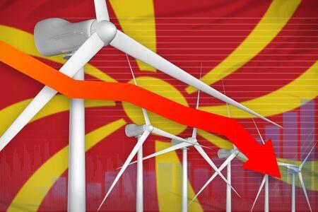 Macedonia wind energy power lowering chart, arrow down  - green energy industrial illustration. 3D Illustration