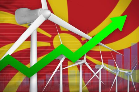 Macedonia wind energy power rising chart, arrow up  - green energy industrial illustration. 3D Illustration