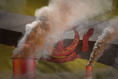 Global warming concept - heavy smoke from plant pipes on Brunei Darussalam flag background with space for your content - industrial 3D illustration Imagens