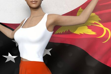 sexy girl in bright skirt is holding Papua New Guinea flag in her hands behind her on the white background - flag concept 3d illustration