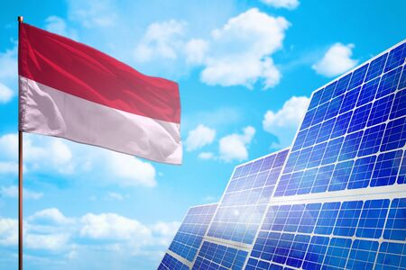Indonesia alternative energy, solar energy concept with flag - symbol of fight with global warming - industrial illustration, 3D illustration
