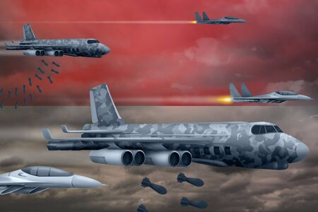 Indonesia bomb air strike concept. Modern Indonesia war airplanes bombing on flag background. 3d Illustration Stockfoto