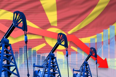 Macedonia oil industry concept, industrial illustration - lowering, falling graph on Macedonia flag background. 3D Illustration Stockfoto