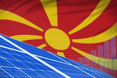 Macedonia solar energy power digital graph concept  - alternative energy industrial illustration. 3D Illustration