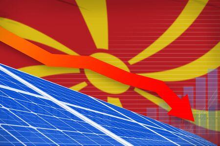 Macedonia solar energy power lowering chart, arrow down  - environmental energy industrial illustration. 3D Illustration Stockfoto