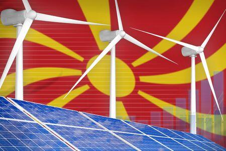 Macedonia solar and wind energy digital graph concept  - modern energy industrial illustration. 3D Illustration