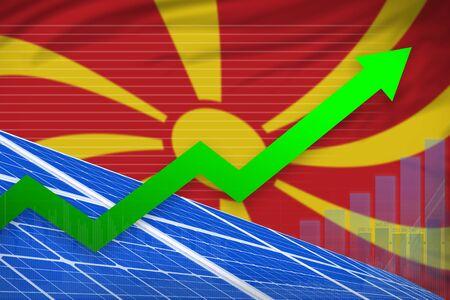 Macedonia solar energy power rising chart, arrow up  - renewable energy industrial illustration. 3D Illustration