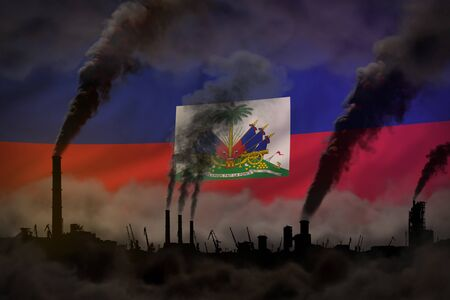 Global warming concept - heavy smoke from industrial pipes on Haiti flag background with place for your text - industrial 3D illustration