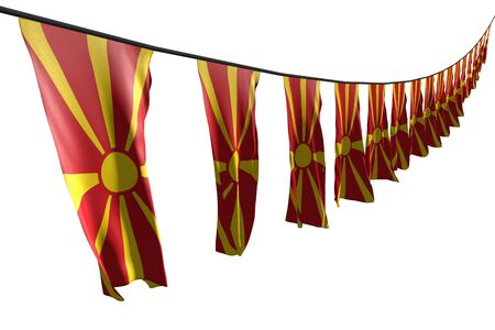 pretty celebration flag 3d illustration  - many Macedonia flags or banners hanging diagonal with perspective view on string isolated on white Stockfoto