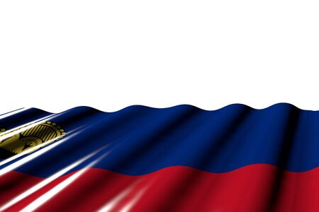 nice shining flag of Liechtenstein with large folds lay at the bottom isolated on white - any holiday flag 3d illustration