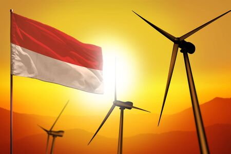 Indonesia wind energy, alternative energy environment concept with turbines and flag on sunset - alternative renewable energy - industrial illustration, 3D illustration 写真素材