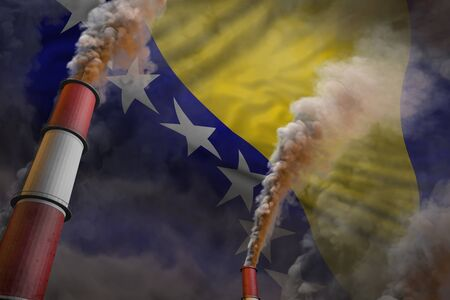 Pollution fight in Bosnia and Herzegovina concept - industrial 3D illustration of two huge industry chimneys with heavy smoke on flag background Imagens