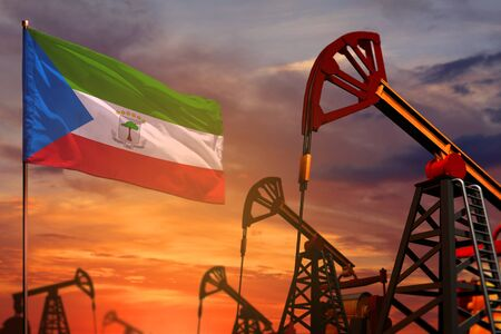 Equatorial Guinea oil industry concept, industrial illustration. Equatorial Guinea flag and oil wells and the red and blue sunset or sunrise sky background - 3D illustration
