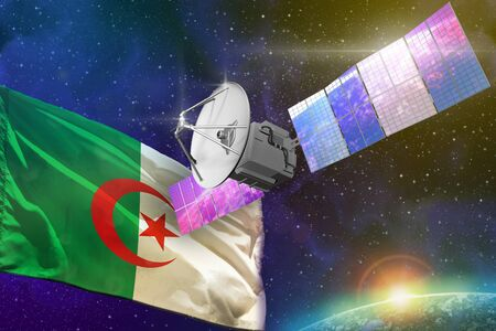 Satellite with Algeria flag, space communications technology concept - 3D Illustration Фото со стока