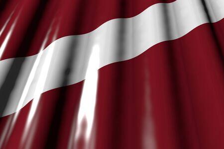 cute shiny - looks like plastic flag of Latvia with large folds lying diagonal - any holiday flag 3d illustration