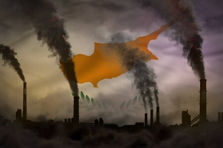 Dark pollution, fight against climate change concept - plant chimneys heavy smoke on Cyprus flag background - industrial 3D illustration