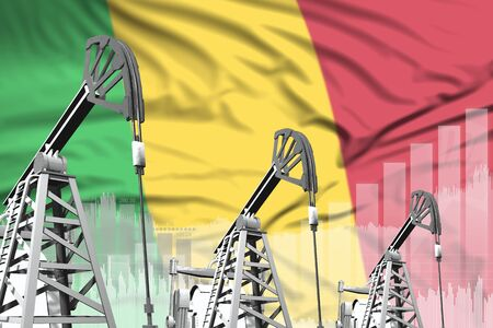 Mali oil and petrol industry concept, industrial illustration on Mali flag background. 3D Illustration