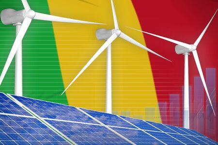 Mali solar and wind energy digital graph concept  - environmental energy industrial illustration. 3D Illustration