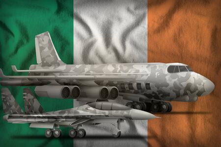 air forces with grey camouflage on the Ireland flag background. Ireland air forces concept. 3d Illustration