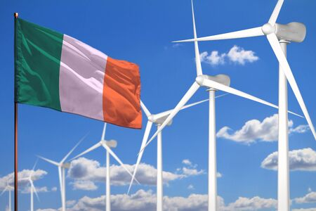 Ireland alternative energy, wind energy industrial concept with windmills and flag - alternative renewable energy industrial illustration, 3D illustration