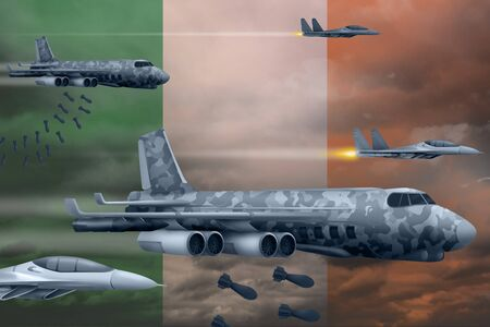 Ireland bomb air strike concept. Modern Ireland war airplanes bombing on flag background. 3d Illustration Stockfoto